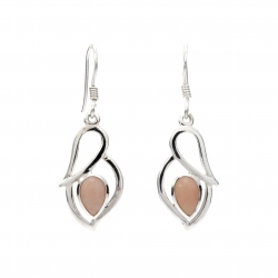 Pink opal silver hanging earrings