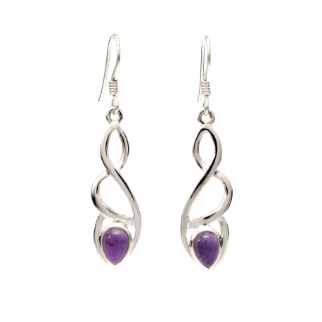 Celtic silver earrings with amethyst