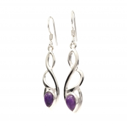 Celtic silver earrings with amethyst
