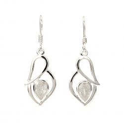 CZ silver hanging earrings