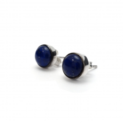 Polished lapis silver stud earrings