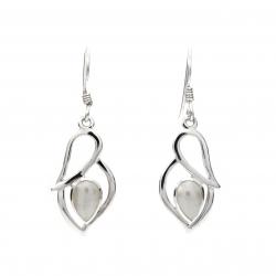 Pearl silver hanging earrings
