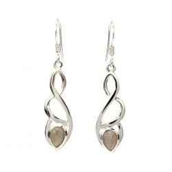 Celtic silver earrings with labradorite