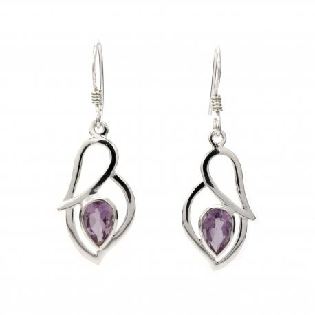 Amethyst silver hanging earrings