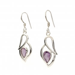 Amethyst silver hanging earrings