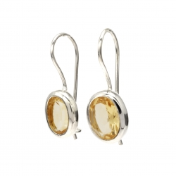 Citrine silver oval hanging earrings