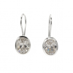 CZ silver oval hanging earrings