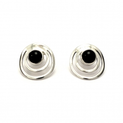 Onyx silver circles stud earrings