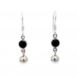 Onyx ball silver hanging silver earring