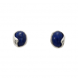 Lapis silver curl stud earrings