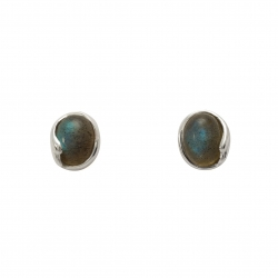 Labradorite silver curl stud earrings