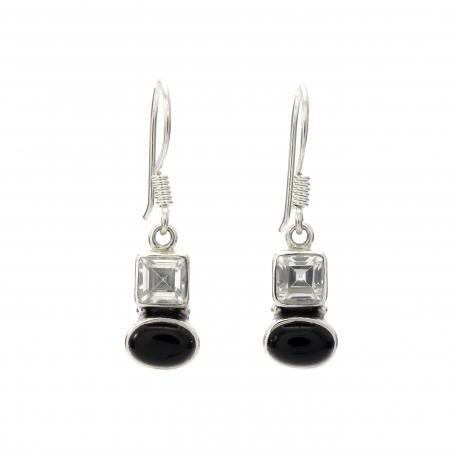 Black onyx cz silver hanging earrings