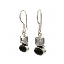 Black onyx cz silver hanging earrings