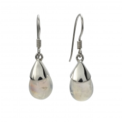 Rainbow moonstone drop silver earrings