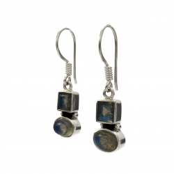 Double labrodorite silver hanging earrings