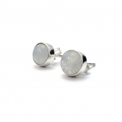 Polished moonstone silver stud earrings
