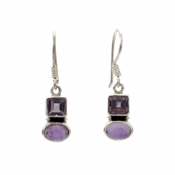 Double amethyst silver hanging earrings