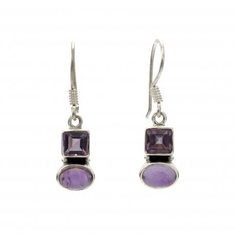 Double amethyst silver hanging earrings