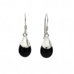 Black onyx silver drop earring