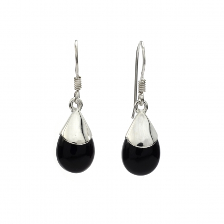 Black Onyx Silver Drop Earring