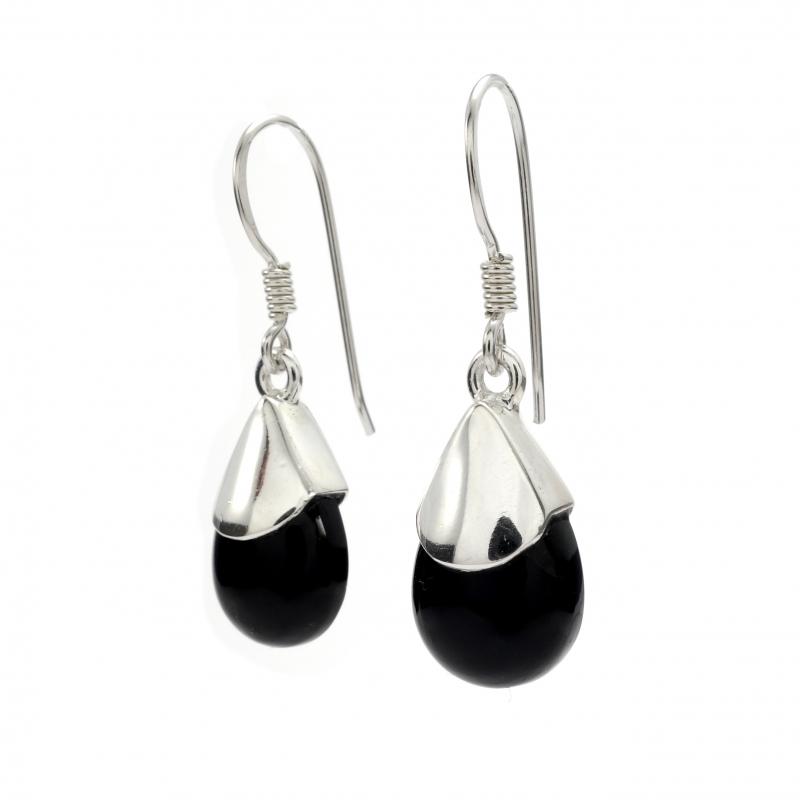Black Onyx Silver Drop Earrings Silver Jewellery Ireland