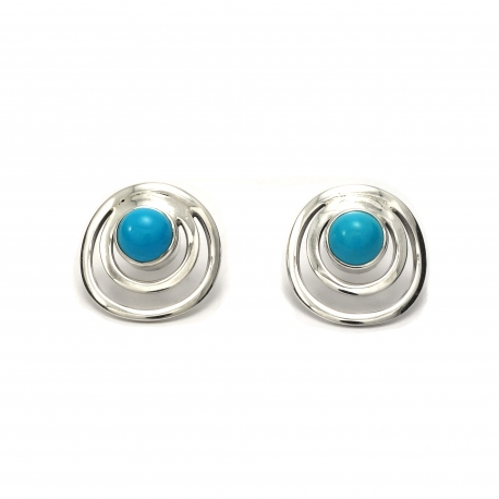 Turquoise silver circles stud earrings