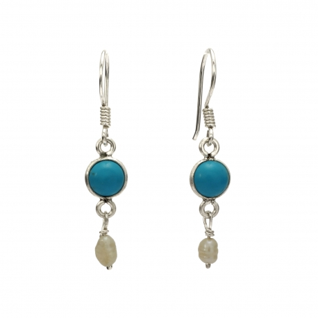 Turquoise and seed pearl silver hanging earring