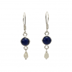 Lapis and seed pearl silver hanging earring