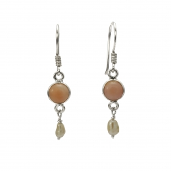 Pink opal and seed pearl silver hanging earring