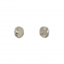 Rainbow moonstone silver curl stud earrings