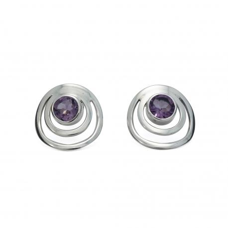 Amethyst silver circles stud earrings