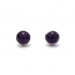 Polished amethyst silver stud earrings