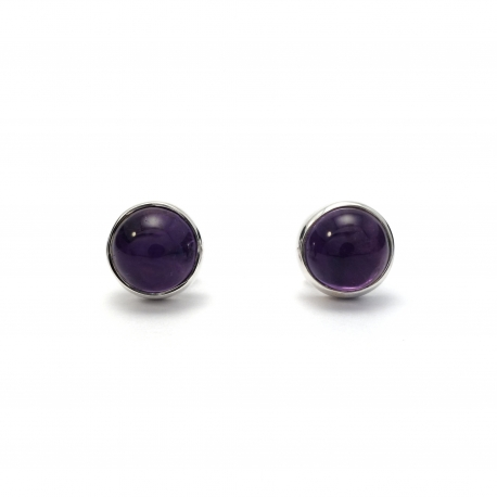 Polished amethyst silver stud earrings