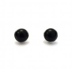 Polished black onyx silver stud earrings