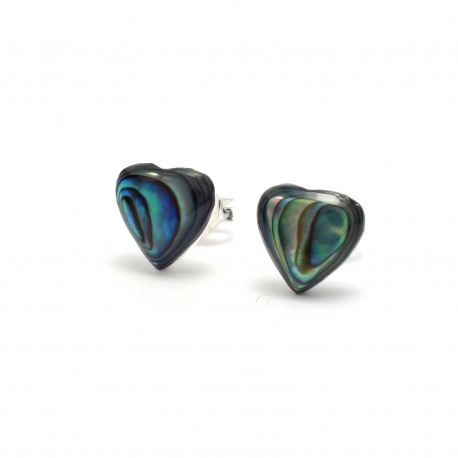 Abalone shell silver stud earrings