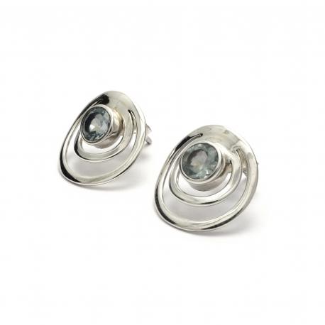 Cut blue topaz silver circles stud earrings