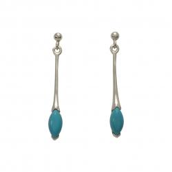 Long silver turquoise drop earrings