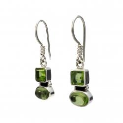 Peridot silver hanging earrings