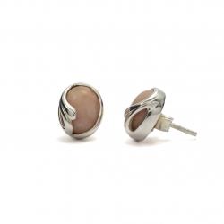 Pink opal silver curl stud earrings
