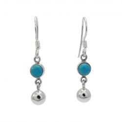 Turquoise ball silver hanging silver earring