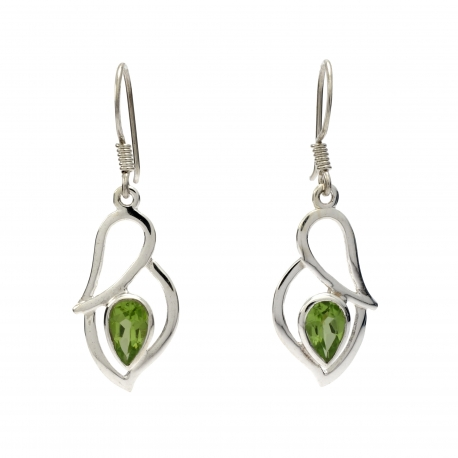 Green peridot silver hanging earrings