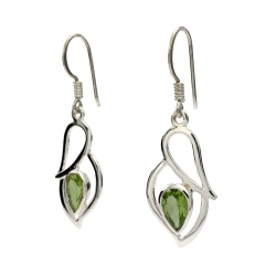 Green peridot silver hanging earrings