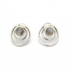 Labradorite silver stud earring