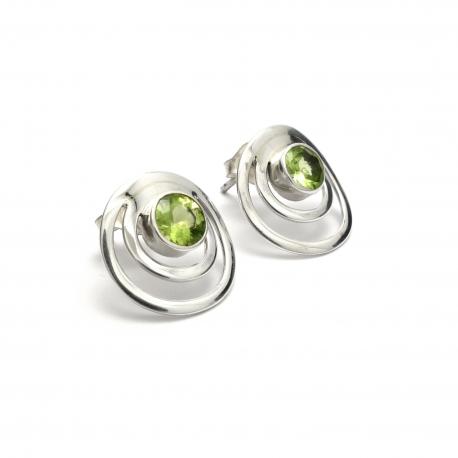 Peridot silver circles stud earrings