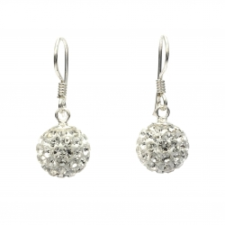 Clear crystal ball hanging silver earrings