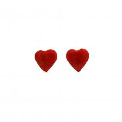 Red  heart silver stud earrings
