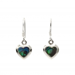 Abalone heart silver hanging earrings