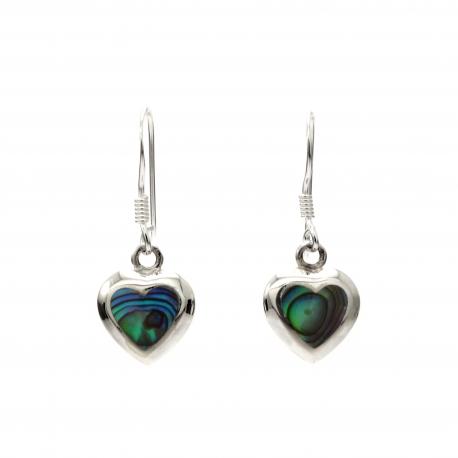 Abalone heart silver hanging earrings