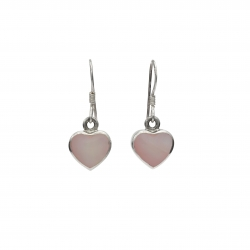 Pink mother of pearl hanging silver earring