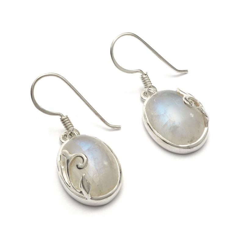 Rainbow moonstone oval silver drop earrings